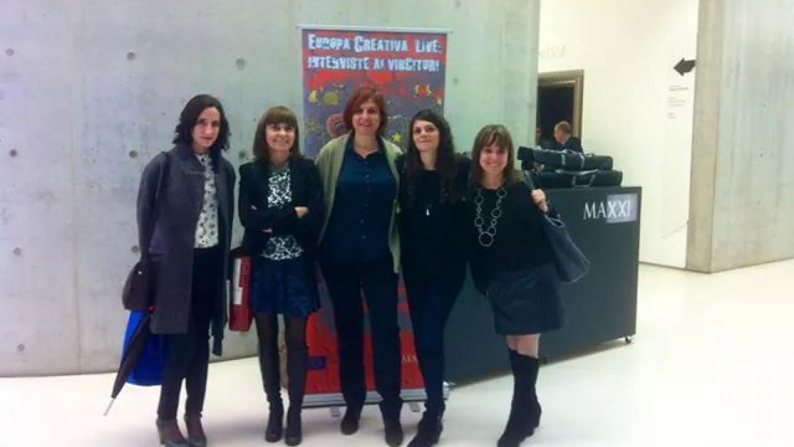 Emilia, Marika and Caterina with the Creative Europe Desk Italia staff.